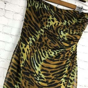 Vintage Dresses - Andrea Polizzi Sheer Animal Print Strapless Dress